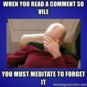 Picard facepalm  - when you read a comment so vile you must meditate to forget it