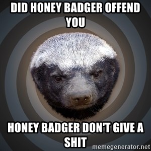 Fearless Honeybadger - Did honey badger offend you  Honey badger don't give a shit