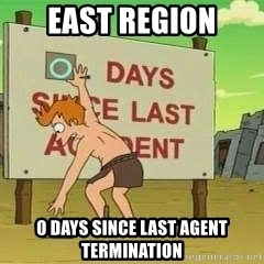 days since - East Region 0 Days Since Last Agent Termination