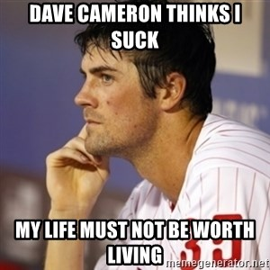 Thinking Hamels - Dave Cameron Thinks I suck My life must not be worth living
