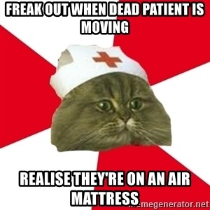 Nursing Student Cat - Freak out when dead patient is moving  realise they're on an air mattress