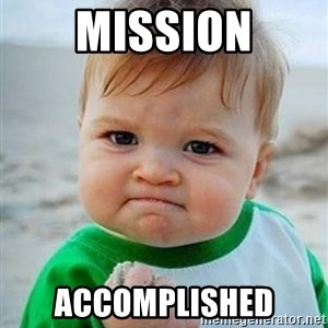 victory kid - mission accomplished