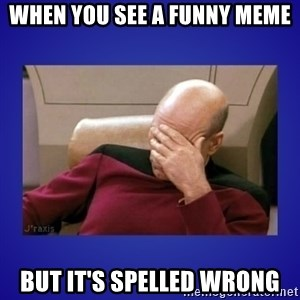 Picard facepalm  - when you see a funny meme but it's spelled wrong