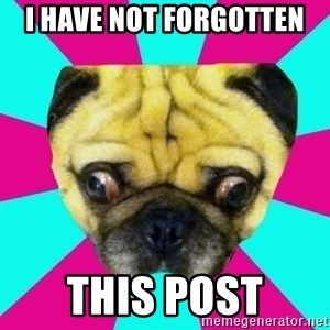 Perplexed Pug - I have not forgotten This post