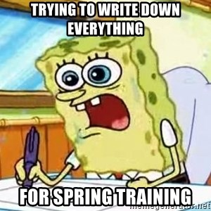 Spongebob What I Learned In Boating School Is - Trying to write down everything  For Spring Training