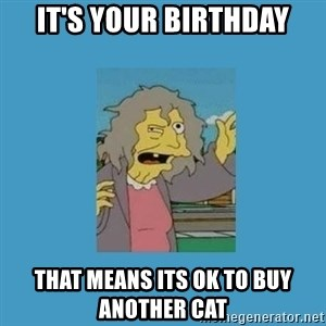 crazy cat lady simpsons - It's your birthday that means its ok to buy another cat