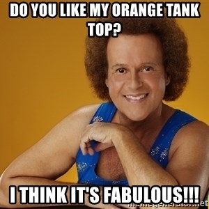 Gay Richard Simmons - do you like my orange tank top? i think it's fabulous!!!