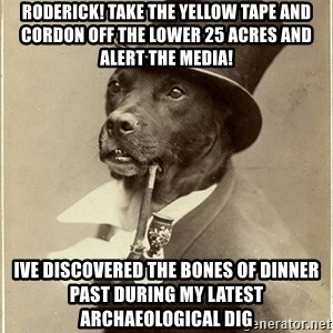 rich dog - roderick! take the yellow tape and cordon off the lower 25 acres and alert the media! ive discovered the bones of dinner past during my latest archaeological dig