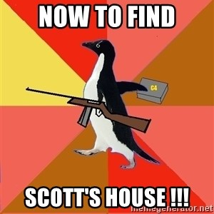 Socially Fed Up Penguin - Now to find Scott's house !!!
