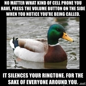advice mallard - No matter what kind of cell phone you have, press the volume button on the side when you notice you're being called. It silences your ringtone. For the sake of everyone around you.