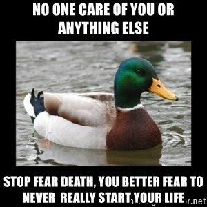 advice mallard - No one care of you or anything else stop fear death, you better fear to never  really start your life