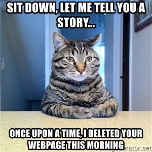 Chris Hansen Cat - SIT DOWN, LET ME TELL YOU A STORY... ONCE UPON A TIME, I DELETED YOUR WEBPAGE THIS MORNING