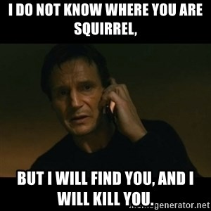 liam neeson taken - I do not know where you are Squirrel,  But I will find you, and I will kill you.