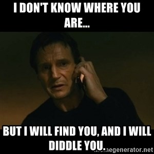 liam neeson taken - I don't know where you are... but I will find you, and I will diddle you.