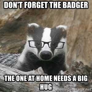 Nerdy Badger - Don't forget the Badger the one at home needs a big hug