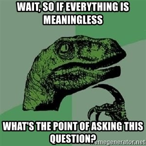 Philosoraptor - wait, so if everything is meaningless what's the point of asking this question?