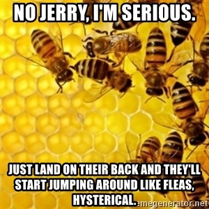 Honeybees - No Jerry, I'm serious. Just land on their back and they'll start jumping around like fleas, hysterical.