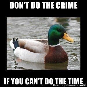 advice mallard - Don't do the crime if you can't do the time