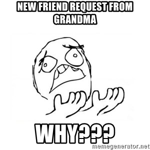 WHY SUFFERING GUY 2 - new friend request from grandma why???