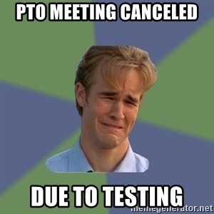 Sad Face Guy - PTO meeting canceled  Due to testing
