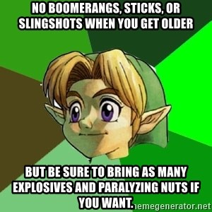 Link - no boomerangs, sticks, or slingshots when you get older But be sure to bring as many explosives and paralyzing nuts if you want.