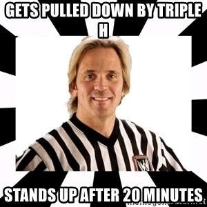 WWE referee - gets pulled down by triple h stands up after 20 minutes