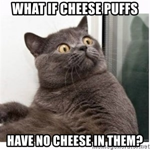 Conspiracy cat - what if cheese puffs have no cheese in them?