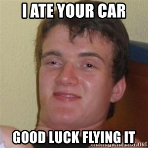 Really Stoned Guy - I ate your car good luck flying it