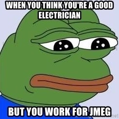 Sad Frog Color - WHEN YOU THINK YOU'RE A GOOD ELECTRICIAN BUT YOU WORK FOR JMEG