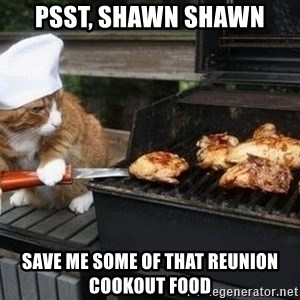 BBQ CAT - psst, shawn shawn save me some of that reunion cookout food