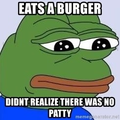 Sad Frog Color - Eats a burger Didnt realize there was no patty
