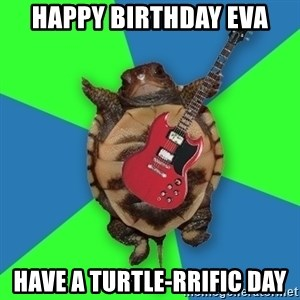 Aspiring Musician Turtle - HAPPY BIRTHDAY EVA Have a Turtle-rrific Day