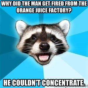Lame Pun Coon - Why did the man get fired from the orange juice factory? He couldn't concentrate.