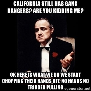 Don Corleone - california still has gang bangers? are you kidding me? ok here is what we do we start chopping their hands off. no hands no trigger pulling