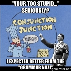 "Grammar Nazi - ""Your too stupid..."" Seriously? I expected better from the ""Grammar Nazi"""