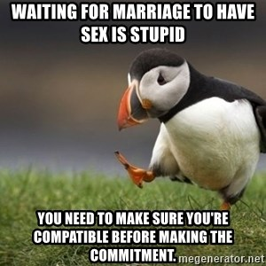 Unpopular Opinion Puffin - waiting for marriage to have sex is stupid you need to make sure you're compatible before making the commitment.