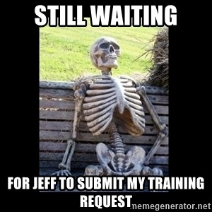 Still Waiting - Still waiting For Jeff to submit my training request