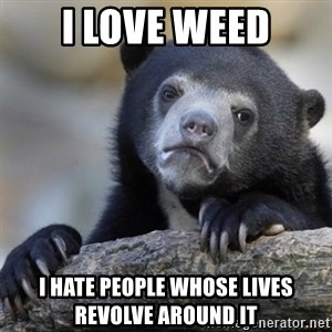 Confessions Bear - I love weed I hate people whose lives revolve around it