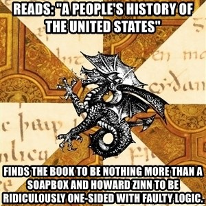 "History Major Heraldic Beast - Reads: ""A People's History of the United States"" Finds the book to be nothing more than a soapbox and Howard Zinn to be ridiculously one-sided with faulty logic."