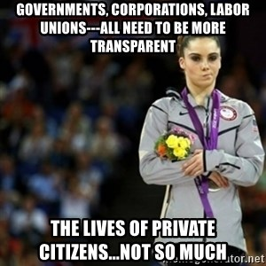 unimpressed McKayla Maroney 2 - governments, corporations, labor unions---all need to be more transparent the lives of private citizens...not so much