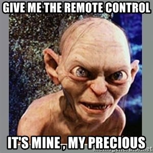 Smeagol - give me the remote control it's mine , my precious