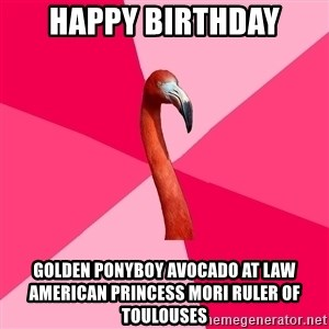 Fanfic Flamingo - Happy birthday Golden ponyboy avocado at law american princess mori ruler of toulouses