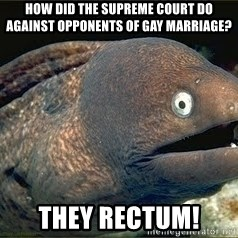 Bad Joke Eel v2.0 - How did the Supreme Court do against opponents of Gay Marriage? They rectum!