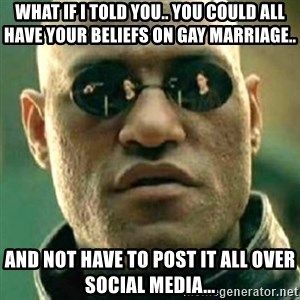 what if i told you matri - What if i told you.. you could all have your beliefs on gay marriage.. And not have to post it all over social media...