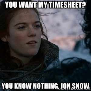 Ygritte knows more than you - you want my timesheet? you know nothing, jon snow
