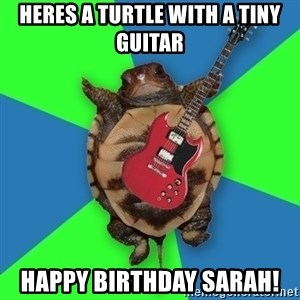 Aspiring Musician Turtle - Heres a turtle with a tiny guitar Happy birthday sarah!
