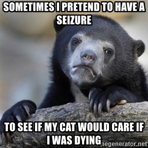 Confessions Bear - Sometimes I pretend to have a seizure to see if my cat would care if i was dying
