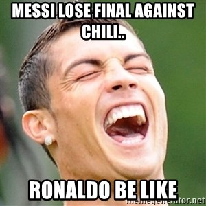 Cristiano Ronaldo Laughing - MESSI LOSE FINAL AGAINST CHILI.. RONALDO BE LIKE