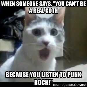 "Surprised Cat - When someone says, ""You can't be a real goth Because you listen to punk rock!"""