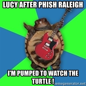 Aspiring Musician Turtle - LUCY AFTER PHISH RALEIGH  I'M PUMPED TO WATCH THE TURTLE !